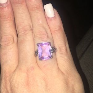 Pink Topaz Silver Ring Size 6